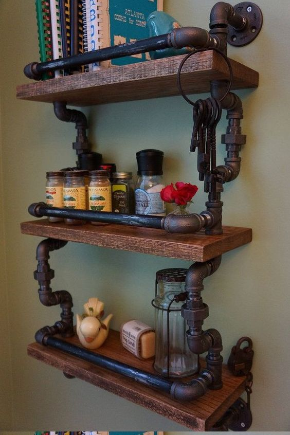 amazing 30 diy industrial pipe shelves crafts and diy ideas. Black Bedroom Furniture Sets. Home Design Ideas